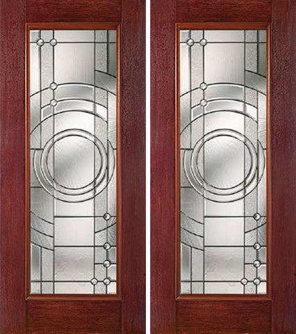 WDMA 60x80 Door (5ft by 6ft8in) Exterior Cherry Full Lite Double Entry Door EN Glass 1