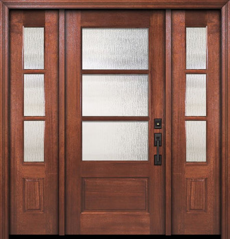 WDMA 60x80 Door (5ft by 6ft8in) Exterior Mahogany 80in 2/3 Lite 3 Lite SDL DoorCraft Door /2side 1