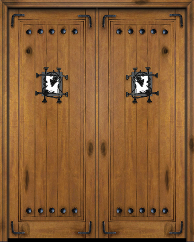 WDMA 60x80 Door (5ft by 6ft8in) Interior Swing Mahogany 1 Panel V-Grooved Plank Rustic-Old World Exterior or Double Door with Speakeasy Corner Straps and Clavos 1