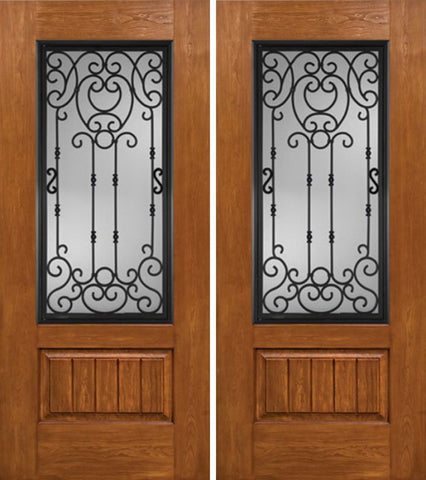 WDMA 60x80 Door (5ft by 6ft8in) Exterior Cherry Plank Panel 3/4 Lite Double Entry Door BM Glass 1