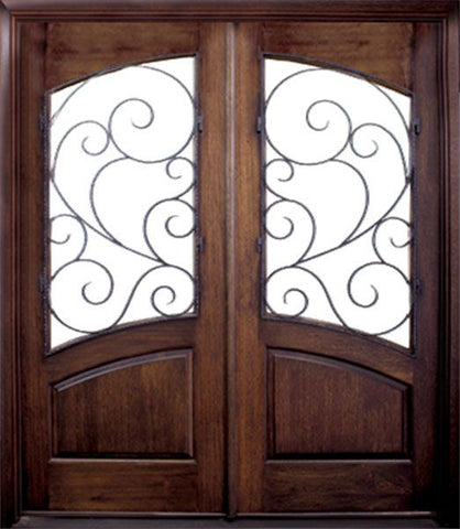 WDMA 60x80 Door (5ft by 6ft8in) Exterior Swing Mahogany 80in Aberdeen Double Door w Burlwood Iron 1