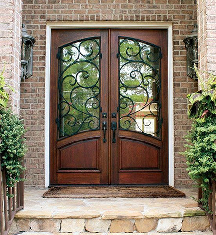 WDMA 60x80 Door (5ft by 6ft8in) Exterior Swing Mahogany 80in Aberdeen Double Door w Burlwood Iron 2