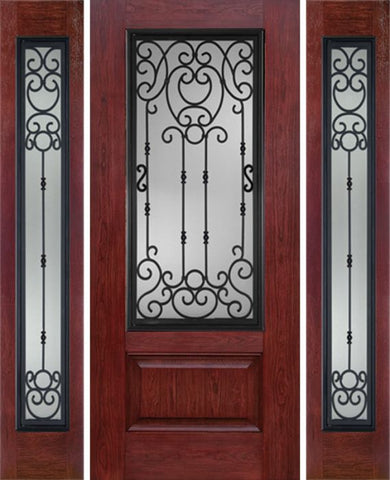 WDMA 60x80 Door (5ft by 6ft8in) Exterior Cherry 3/4 Lite 1 Panel Single Entry Door Sidelights BM Glass 1
