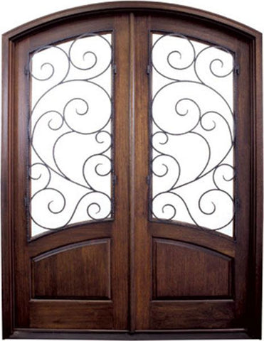 WDMA 60x80 Door (5ft by 6ft8in) Exterior Swing Mahogany 80in Aberdeen Double Door/Arch Top w Burlwood Iron 1