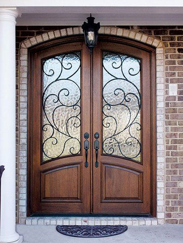 WDMA 60x80 Door (5ft by 6ft8in) Exterior Swing Mahogany 80in Aberdeen Double Door/Arch Top w Burlwood Iron 2