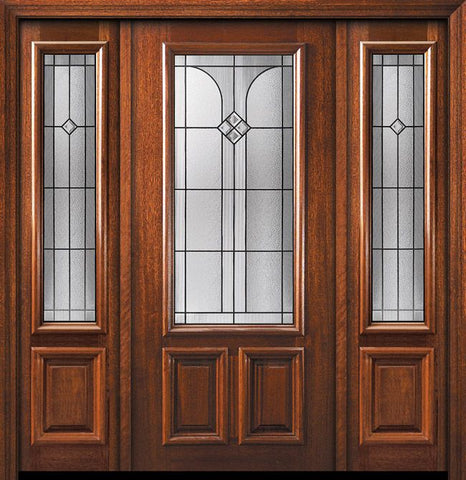 WDMA 60x80 Door (5ft by 6ft8in) Exterior Mahogany 36in x 80in 2/3 Lite Cantania Door /2side 1