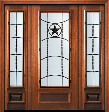 WDMA 60x80 Door (5ft by 6ft8in) Exterior Mahogany 80in 3/4 Lite Texan Door /2side 1
