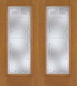 WDMA 60x80 Door (5ft by 6ft8in) Exterior Oak Fiberglass Impact Door Full Lite Saratoga 6ft8in Double 1