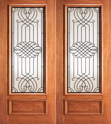 WDMA 60x84 Door (5ft by 7ft) Exterior Mahogany Designer Ironwork Scrollwork Glass Double Door 1