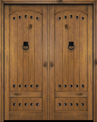 WDMA 60x84 Door (5ft by 7ft) Interior Swing Mahogany 3/4 Arch Top Panel V-Grooved Plank Exterior or Double Door with Clavos 1