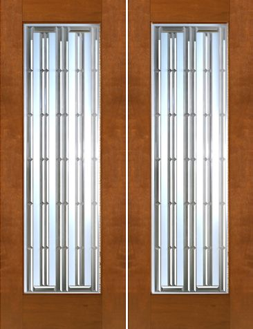 WDMA 60x96 Door (5ft by 8ft) Exterior Mahogany 2-1/4in Thick Contemporary Double Doors Art Glass 1