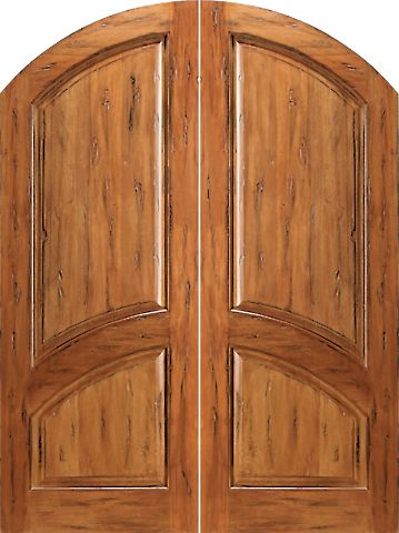 WDMA 60x96 Door (5ft by 8ft) Exterior Tropical Hardwood RS-1130 Arch Top Raised 2-Panel Rustic Hardwood Double Door 1
