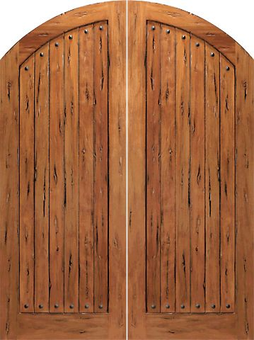 WDMA 60x96 Door (5ft by 8ft) Exterior Tropical Hardwood RS-1150 Arch Top Plank 1-Panel Rustic Hardwood Entry Double Door w Clavos 1