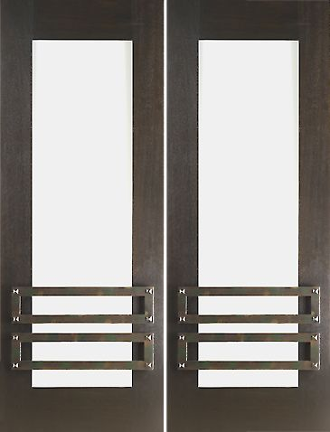 WDMA 60x96 Door (5ft by 8ft) Exterior Mahogany 2-1/4in Thick Double Doors Low-E Glass Iron Work 1