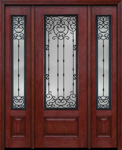 WDMA 60x96 Door (5ft by 8ft) Exterior Cherry 96in 3/4 Lite Single Entry Door Sidelights Belle Meade Glass 1