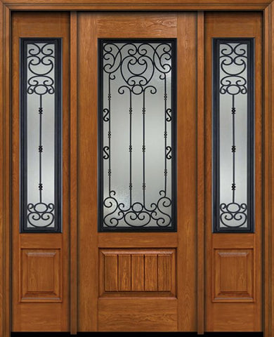 WDMA 60x96 Door (5ft by 8ft) Exterior Cherry 96in Plank Panel 3/4 Lite Single Entry Door Sidelights Belle Meade Glass 1