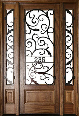 WDMA 60x96 Door (5ft by 8ft) Exterior Swing Mahogany Wakefield Single Door/2Sidelight w Iron #2 1
