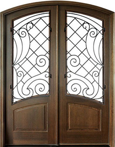 WDMA 60x96 Door (5ft by 8ft) Exterior Swing Mahogany Aberdeen Double Door/Arch Top w Iron #1 1