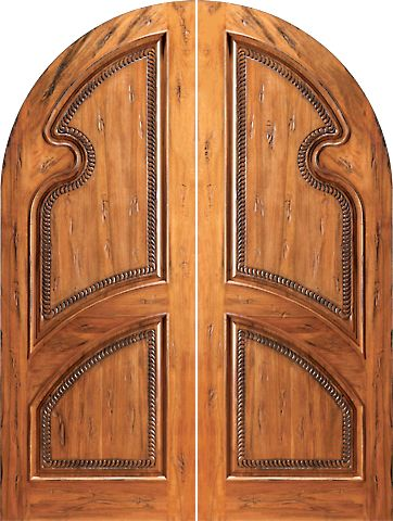 WDMA 60x96 Door (5ft by 8ft) Exterior Tropical Hardwood RA-1180 Round Top Carved Moulding 2-Panel Rustic Hardwood Double Door 1