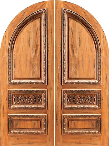 WDMA 60x96 Door (5ft by 8ft) Exterior Tropical Hardwood RA-1160 Round Top Carved Moulding 3-Panel Rustic Hardwood Double Door 1