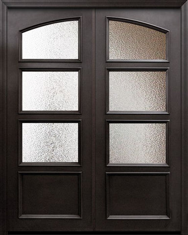 WDMA 60x96 Door (5ft by 8ft) Exterior 96in ThermaPlus Steel 1 Panel Square Top 3 Lite Continental Double Door w/ Textured Glass 1