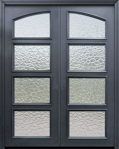 WDMA 60x96 Door (5ft by 8ft) Exterior 96in ThermaPlus Steel Square Top 4 Lite Continental Double Door w/ Textured Glass 1