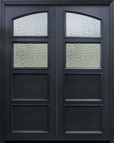 WDMA 60x96 Door (5ft by 8ft) Exterior 96in ThermaPlus Steel 2 Panel Square Top 2 Lite Continental Double Door w/ Textured Glass 1