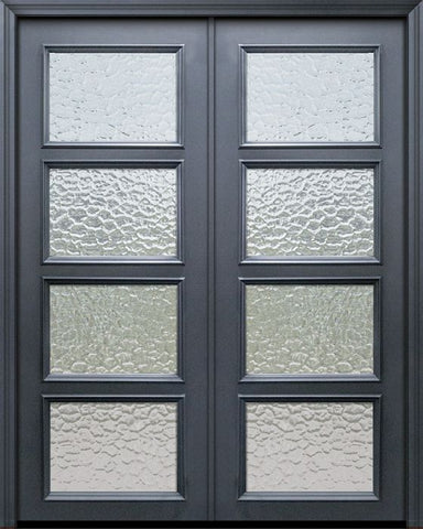 WDMA 60x96 Door (5ft by 8ft) Exterior 96in ThermaPlus Steel 4 Lite Continental Double Door w/ Textured Glass 1
