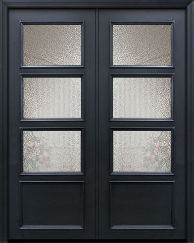WDMA 60x96 Door (5ft by 8ft) Exterior 96in ThermaPlus Steel 3 Lite 1 Panel Continental Double Door w/ Textured Glass 1