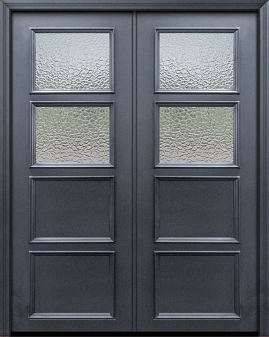 WDMA 60x96 Door (5ft by 8ft) Exterior 96in ThermaPlus Steel 2 Lite 2 Panel Continental Double Door w/ Textured Glass 1
