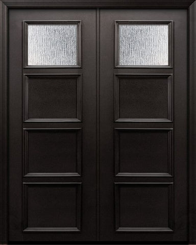 WDMA 60x96 Door (5ft by 8ft) Exterior 96in ThermaPlus Steel 1 Lite 3 Panel Continental Double Door w/ Textured Glass 1