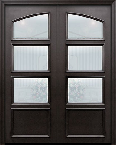 WDMA 60x96 Door (5ft by 8ft) Exterior 96in ThermaPlus Steel 1 Panel Square Top 3 Lite Continental Double Door w/ Beveled Glass 1
