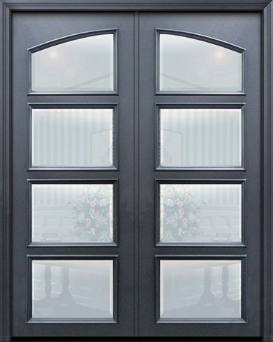 WDMA 60x96 Door (5ft by 8ft) Exterior 96in ThermaPlus Steel Square Top 4 Lite Continental Double Door w/ Beveled Glass 1