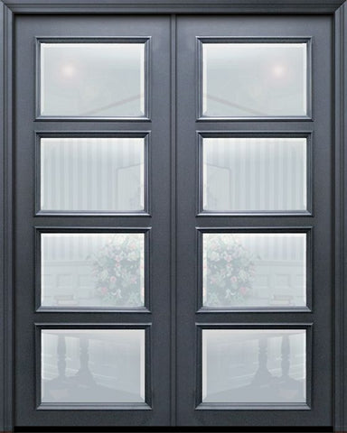 WDMA 60x96 Door (5ft by 8ft) Exterior 96in ThermaPlus Steel 4 Lite Continental Double Door w/ Beveled Glass 1