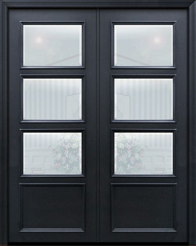 WDMA 60x96 Door (5ft by 8ft) Exterior 96in ThermaPlus Steel 3 Lite 1 Panel Continental Double Door w/ Beveled Glass 1