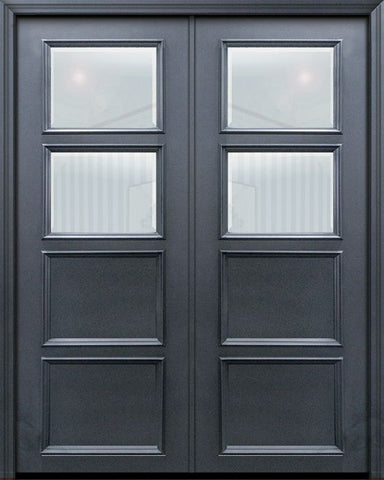 WDMA 60x96 Door (5ft by 8ft) Exterior 96in ThermaPlus Steel 2 Lite 2 Panel Continental Double Door w/ Beveled Glass 1