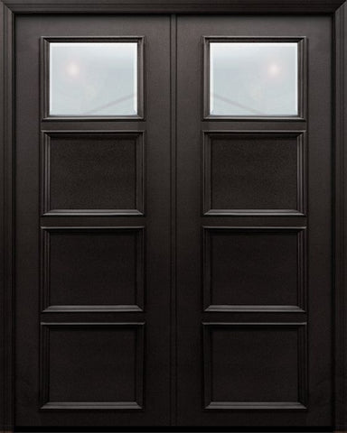 WDMA 60x96 Door (5ft by 8ft) Exterior 96in ThermaPlus Steel 1 Lite 3 Panel Continental Double Door w/ Beveled Glass 1