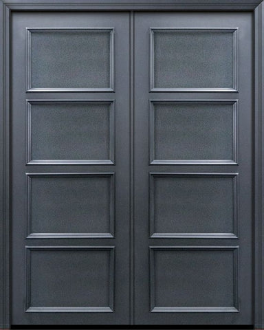 WDMA 60x96 Door (5ft by 8ft) Exterior 96in ThermaPlus Steel 4 Panel Solid Continental Double Door 1