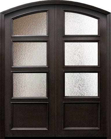 WDMA 60x96 Door (5ft by 8ft) Exterior 96in ThermaPlus Steel 1 panel Arch Top 3 Lite Continental Double Door w/ Textured glass 1