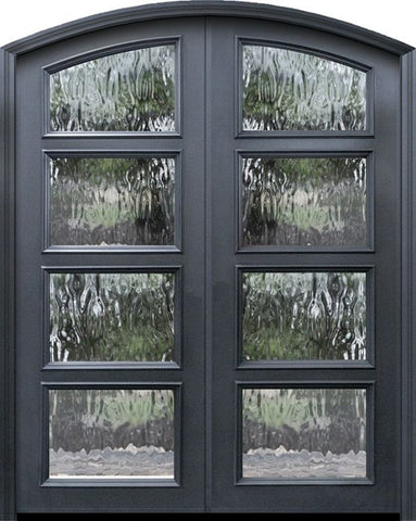 WDMA 60x96 Door (5ft by 8ft) Exterior 96in ThermaPlus Steel Arch Top 4 Lite Continental Double Door w/ Textured glass 1