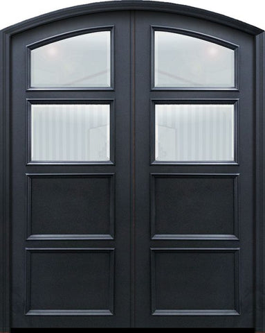 WDMA 60x96 Door (5ft by 8ft) Exterior 96in ThermaPlus Steel 2 panel Arch Top 2 Lite Continental Double Door w/ Beveled Glass 1