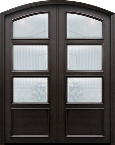 WDMA 60x96 Door (5ft by 8ft) Exterior 96in ThermaPlus Steel 1 panel Arch Top 3 Lite Continental Double Door w/ Beveled Glass 1