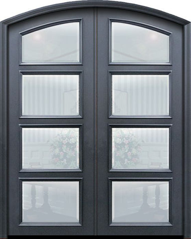 WDMA 60x96 Door (5ft by 8ft) Exterior 96in ThermaPlus Steel Arch Top 4 Lite Continental Double Door w/ Beveled Glass 1