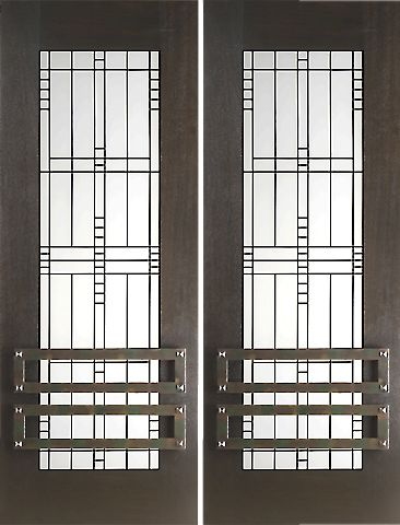 WDMA 60x96 Door (5ft by 8ft) Exterior Mahogany 2-1/4in Thick Double Doors Matte Glass Iron Work 1