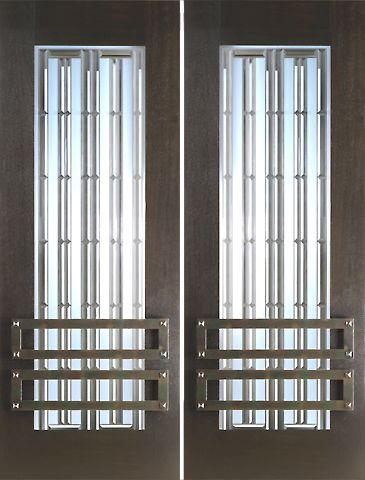 WDMA 60x96 Door (5ft by 8ft) Exterior Mahogany 2-1/4in Thick Modern Double Doors Art Glass Iron Work 1