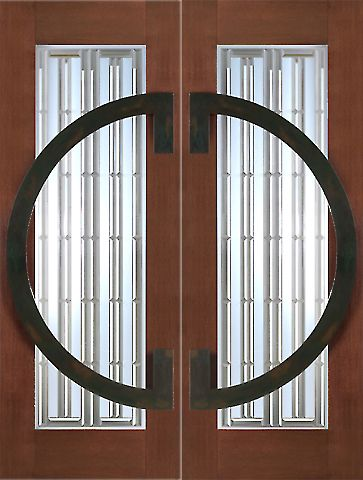 WDMA 60x96 Door (5ft by 8ft) Exterior Mahogany Pair of 2-1/4in Thick Contemporary Doors Iron Work 1
