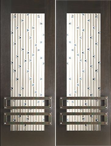 WDMA 60x96 Door (5ft by 8ft) Exterior Mahogany Double 2-1/4in Thick Doors Art Glass Iron Work 1