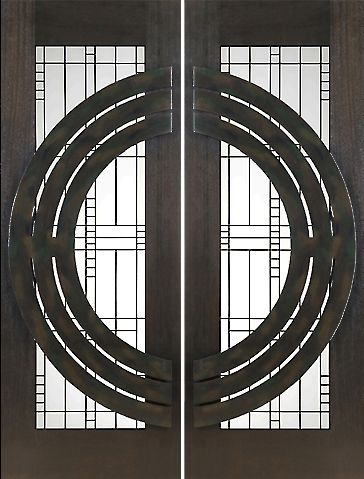 WDMA 60x96 Door (5ft by 8ft) Exterior Mahogany Pair of 2-1/4in Thick Doors Matte Glass Iron Work 1
