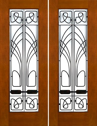 WDMA 60x96 Door (5ft by 8ft) Exterior Mahogany 2-1/4in Art Nouveau Double Doors Low-E Glass Iron Work 1