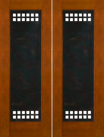 WDMA 60x96 Door (5ft by 8ft) Exterior Mahogany 2-1/4in Thick Modern Double Doors Heavy Iron Work 1